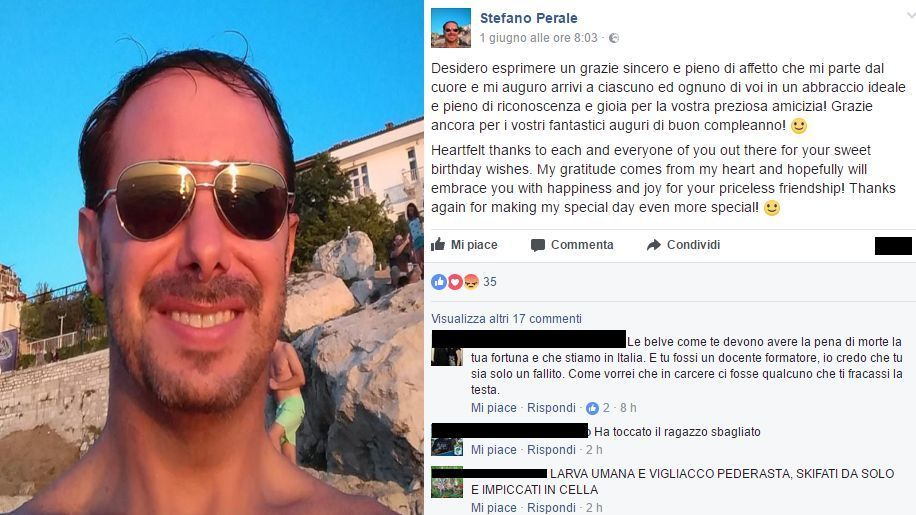 Omicidio Mestre : su Facebook insulti all'assassino Stefano Perale