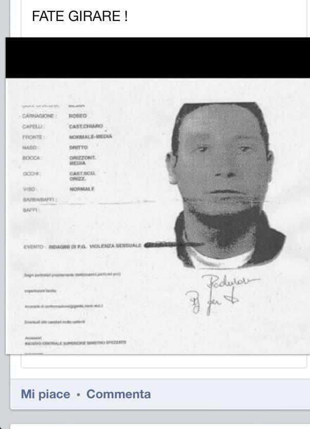 Diffuso l'identikit dello stupratore di Velletri (Foto)