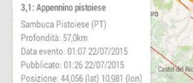 Terremoto Oggi : Scossa magnitudo 3.1 vicino Pistoia avvertita anche a Prato e Firenze