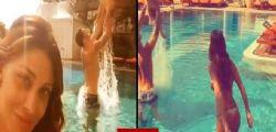 Belen Rodriguez Stefano de Martino  e Santiago felici in piscina!