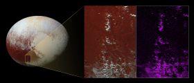 Cime imbiancate su Plutone con neve di metano