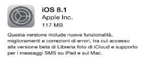 Apple rilascia finalmente iOS 8.1 ecco i Link Diretti al Download