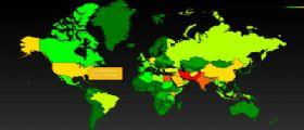 Datagate Grande fratello americano : La mappa dei Paesi più spiati dagli USA