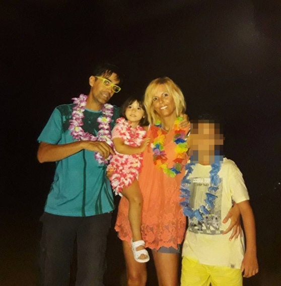 La piccola Sofia con la famiglia