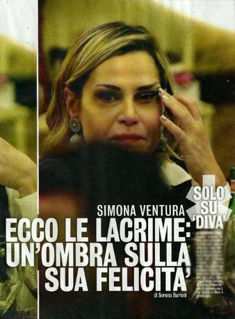 Simona Ventura in lacrime