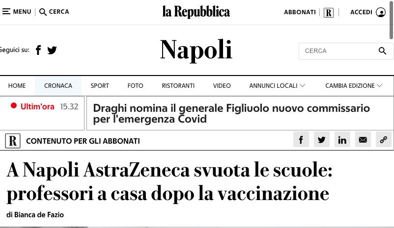 Vaccini Covid: a Napoli gli effetti collaterali svuotano le scuole