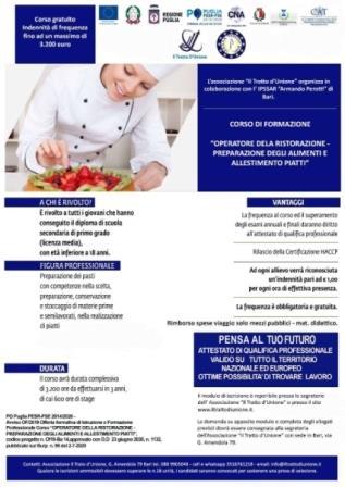 Puglia, corso Operatore della Ristorazione con indennità di frequenza per i minorenni a Bari