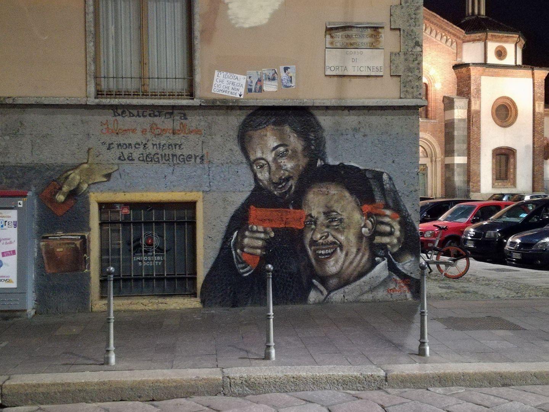 Milano/ Sfregiato murales dedicato ai 2 giudici eroi : Falcone spara a Borsellino