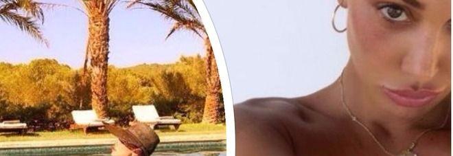 Belen Rodriguez hot ad Ibiza... ancora in topless e sexy esibizione con le bolle di sapone
