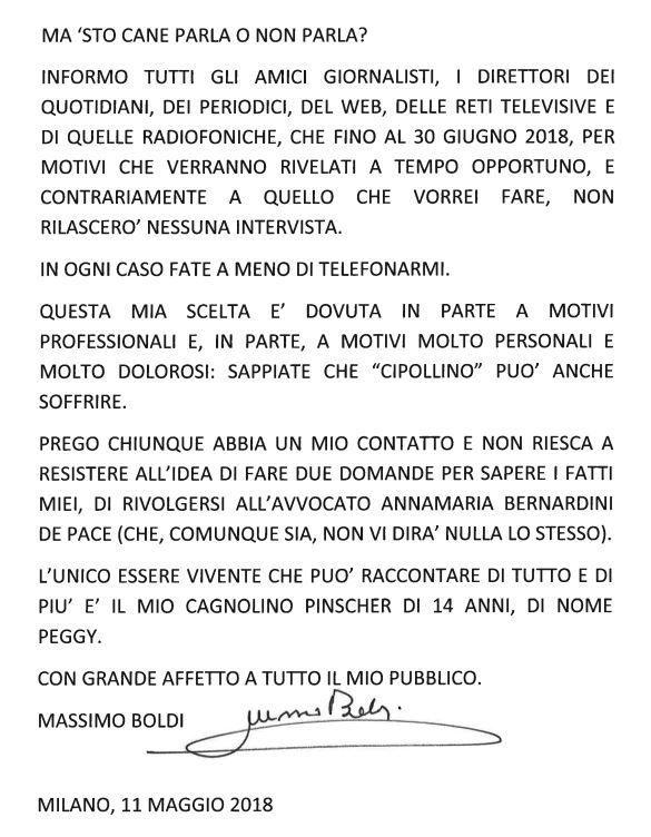 Massimo Boldi e lo strano messaggio dopo il tradimento di Loredana De Nardis : Anche Cipollino soffre...