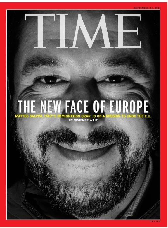 Matteo Salvini in copertina sul Time : Il volto nuovo dell'Europa