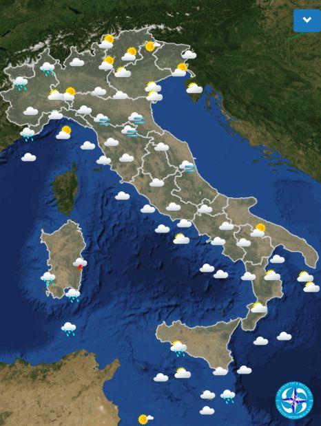 Le previsioni meteo per domani domenica 4 novembre : molto nuvoloso e piogge
