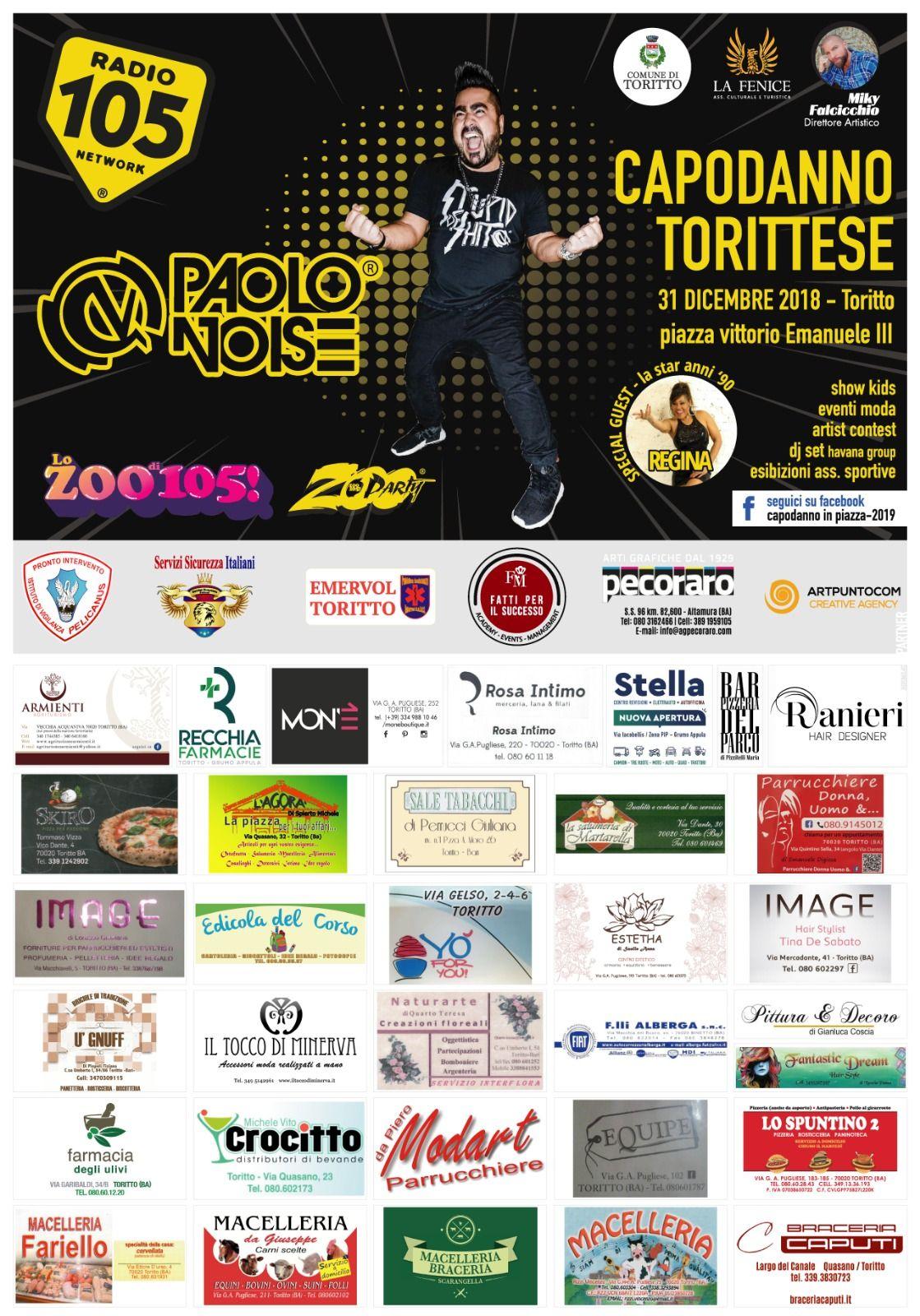 Puglia, Capodanno 2019 a Toritto con tanta musica e divertimento: Paolo Noise e Regina special guest