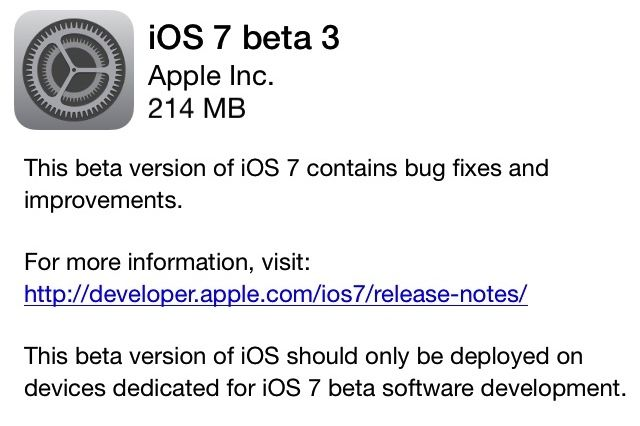 iOS 7 beta 3 : Link Download Diretti e Torrent