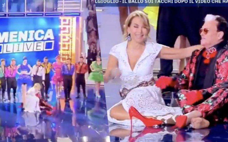 Caduta in diretta per Barbara D'Urso e Malgioglio nella prima puntata di Domenica Live