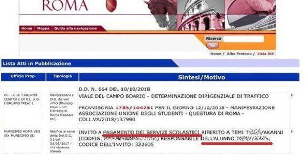 La mamma non paga la mensa, Mamma e figlia sul sito del Comune di Roma
