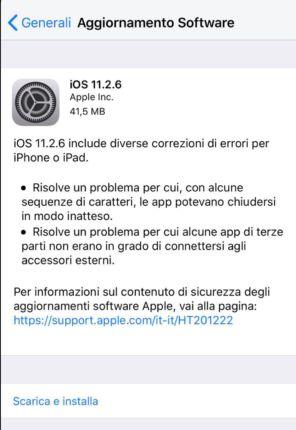 Apple rilascia iOS 11.2.6 correggendo il bug che ha mandato in crash tanti dispositivi Apple