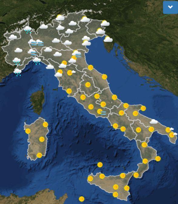 Previsioni meteo domani venerdì 9 novembre : Migliora al Sud, ancora piogge al Nord
