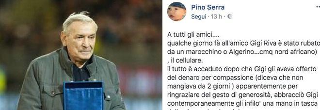 Gigi Riva derubato da un mendicante: Lo abbraccia per l'elemosina e gli sfila il cellulare