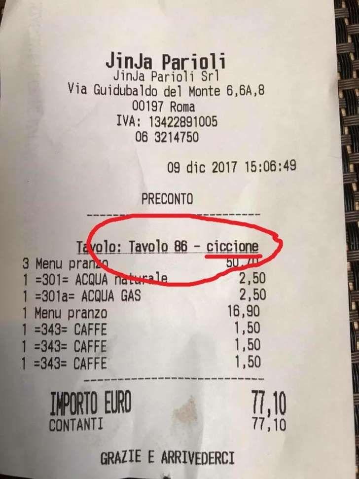 Ristorante cinese Roma- lo scontrino per tre amiche a pranzo : Tavolo ciccione