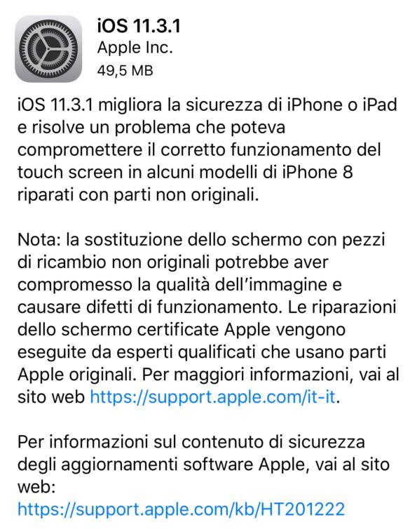 Apple rilascia iOS 11.3.1 per tutti i suoi dispositivi