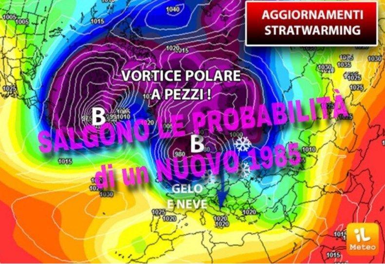 Freddo e neve in arrivo come 34 anni fa! Con lo Strat Warming temperature polari in Italia