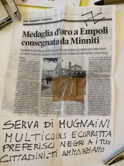 Minacce di morte al Sindaco di Empoli: Preferisci i negri ai tuoi cittadini, ti ammazziamo