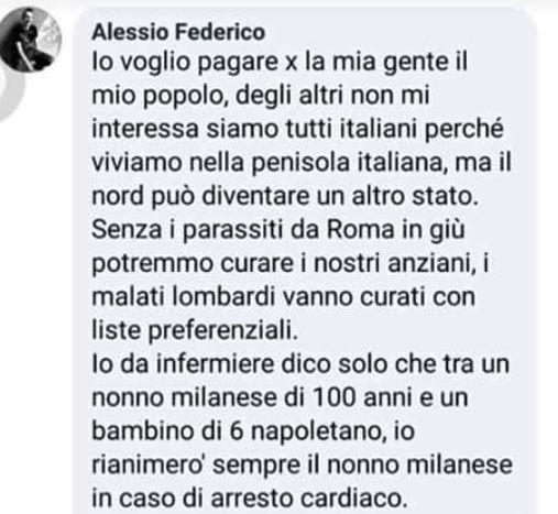 Tra un nonno milanese e un bimbo napoletano salverei il primo : Il post choc su Facebook