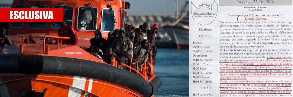Mette migranti in strada! In chiesa il bollettino anti-dl Salvini