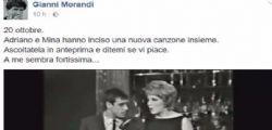 Gianni Morandi su Facebook : la nuova canzone di Mina e Celentano Amami amami - Video
