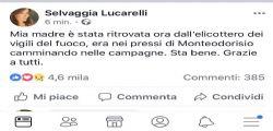 Trovata in meno di 24 ore la mamma scomparsa di Selvaggia Lucarelli