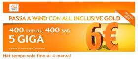 Wind : Ricevere la promozione di 400 minuti, SMS e 5 GB a soli 6€
