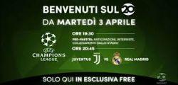 Mediaset Canale 20 già in diretta streaming per Juventus-Real Madrid