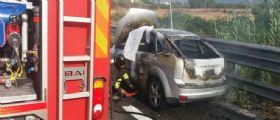 Autostrada Salerno-R.Calabria : Auto devastata dalle fiamme, all