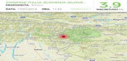 Terremoto Oggi magnitudo 3.9 confine italo sloveno avvertito a Udine, Gorizia e Trieste