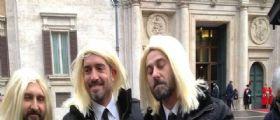 Il Trio Medusa de Le Iene a Montecitorio in onore del Presidente Mattarella