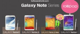 Android Lollipop 5 per Galaxy Note 2, Note 3, Note 3 Neo, Note 4