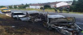 Reggio Emilia, schianto tra tre auto poi le fiamme : Quattro feriti