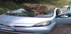 Frosinone : Masso di 4 quintali sulla Toyota, 30enne miracolato esce illeso