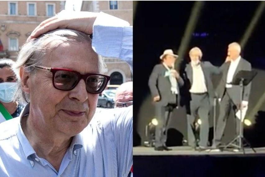 Vittorio Sgarbi insultato, lascia il palco dell