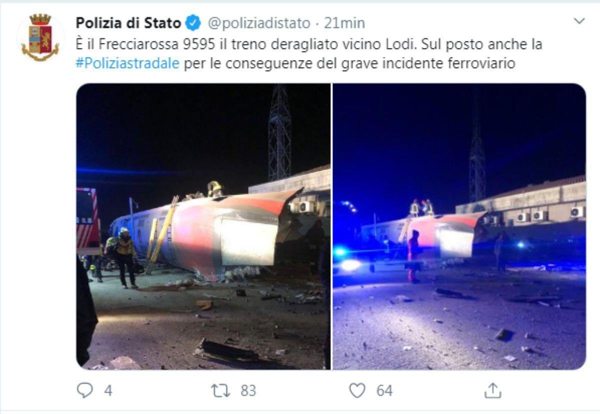 Incidente Frecciarossa Milano-Salerno, Deragliamento Treno a Lodi