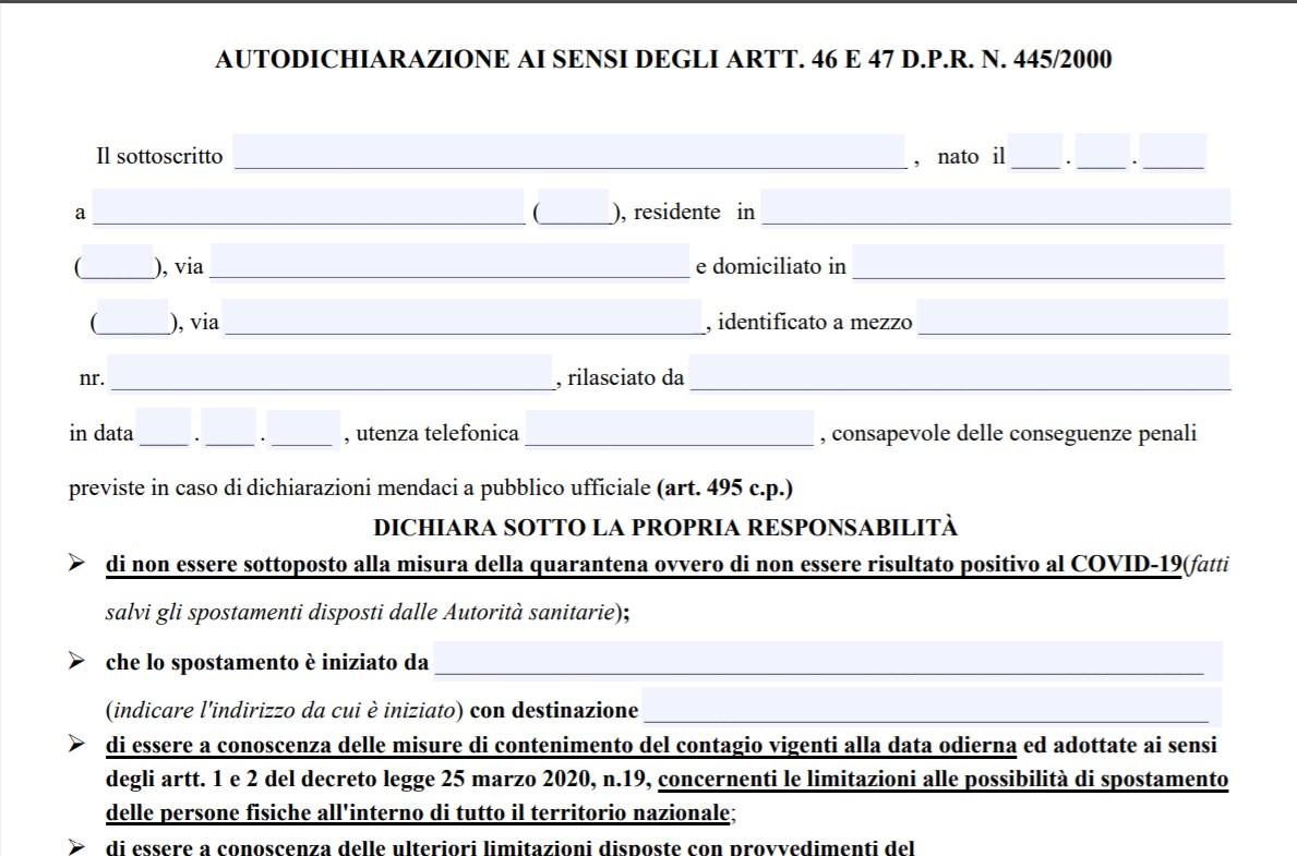 Nuova autocertificazione aprile 2020 : il modulo PDF da scaricare e compilare