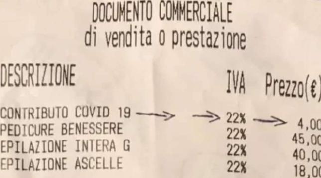Coronavirus : Sugli scontrini la tassa Covid da 2 a 4 euro